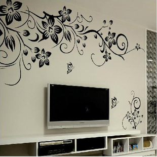 Decal Mural Black Home Decor Wall Vinyl Butterfly Vines Stic