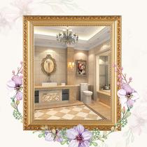 歐式浴室鏡子貼墻實木邊框自粘衛生間洗手間廁所免打孔化妝梳妝鏡