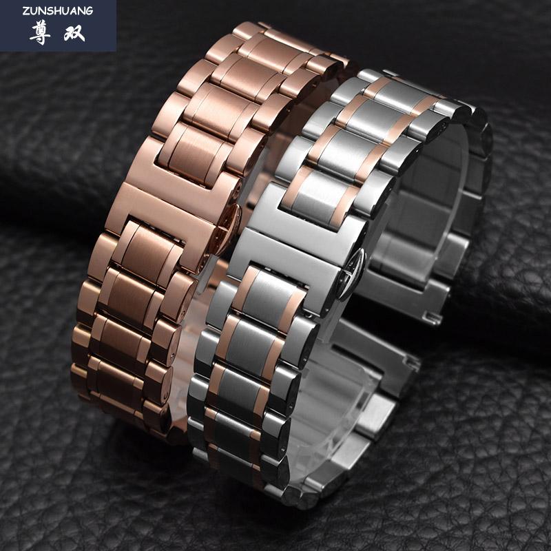 玫瑰金不锈钢手表带男女代用天梭美度保时捷钢带手表链14|15|17mm