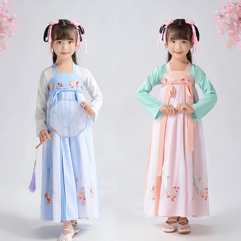 女童汉服夏装2019新款中国风连衣裙(非品牌)