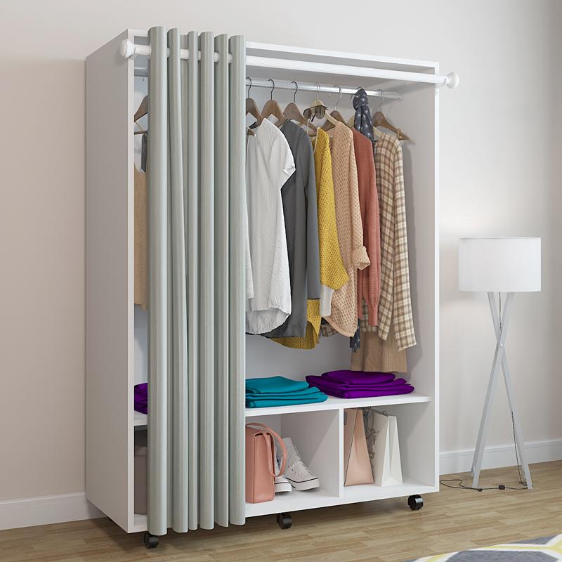 实木简易衣柜木质组装衣柜简约现代经济型单人双人衣橱柜子移动柜