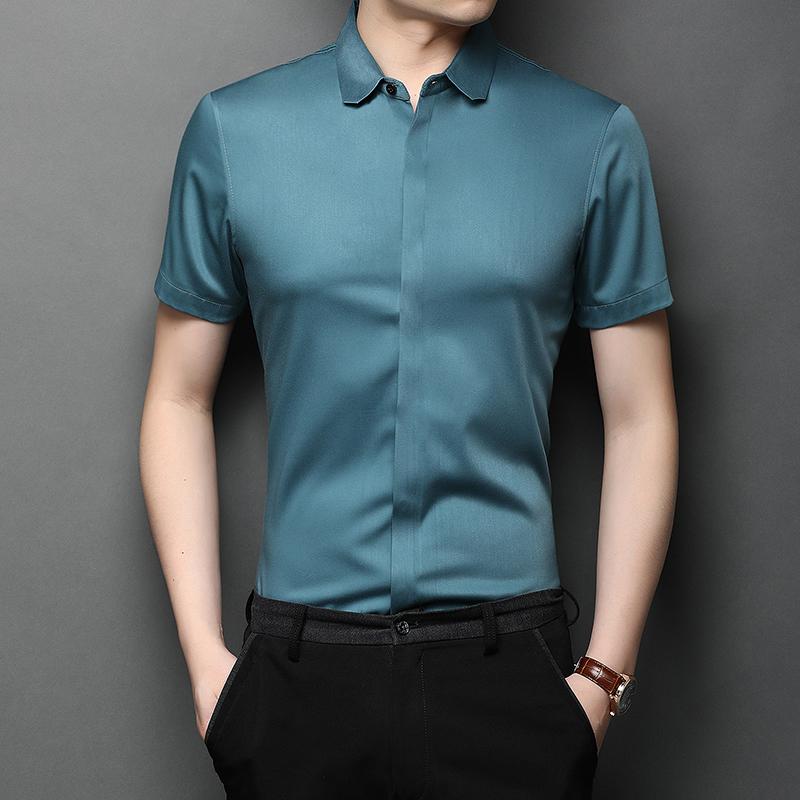 2020高档夏季男士短袖冰丝无痕衬衫