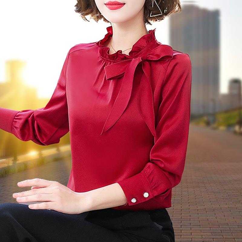 红色雪纺衫女2020年春装新款衬衫蝴蝶结时尚洋气打底春季上衣小衫