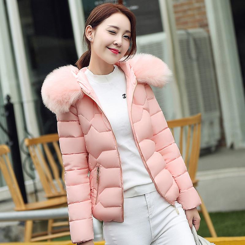 实拍2017冬季新款棉衣女韩版修身保暖连帽大毛领短款羽绒服女$611