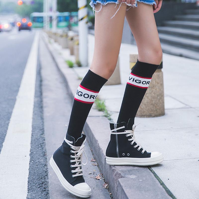 小腿袜女日系韩国及膝袜纯棉堆堆学院风高筒袜中长潮运动半截袜子