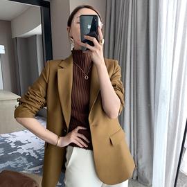 崔婶儿定制 立裁版型时装料复古咸菜绿西装外套女 修身一粒扣西服