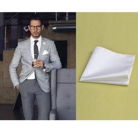 白色素色西服口袋巾  蓝边墨绿边西装胸巾袋巾 纯白色涤丝口袋巾