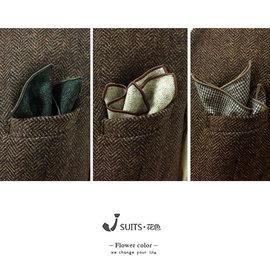 羊毛方巾 人字纹复古羊毛西装口袋巾 绅装西服胸巾咖啡色灰色方巾