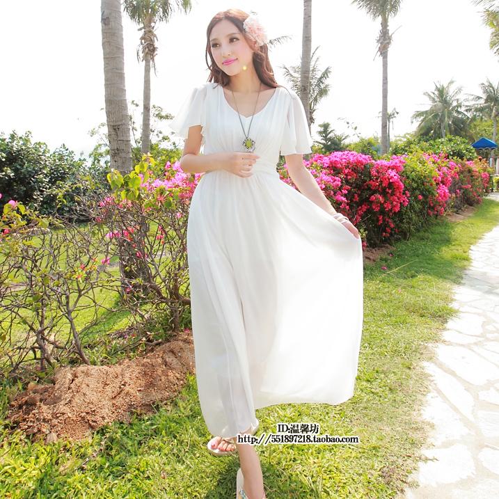 热销0件假一赔三新款波西米亚沙滩雪纺 白色长裙海边渡假夏季超大摆连衣裙子
