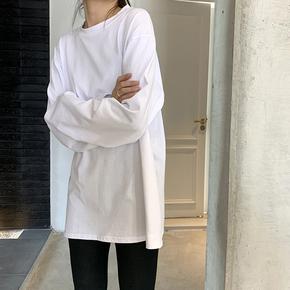 白色t恤女长袖薄款2020早秋季韩版宽松大码学生上衣ins超火打底衫