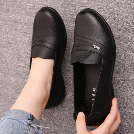 皮鞋女 真皮 平底 防滑 百搭图片