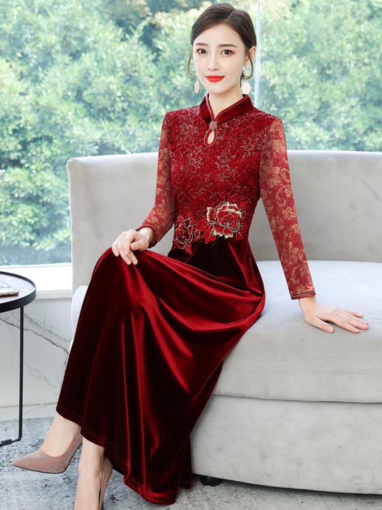 改良版旗袍秋装2020年新款气质妈妈结婚宴礼服喜婆婆金丝绒连衣裙