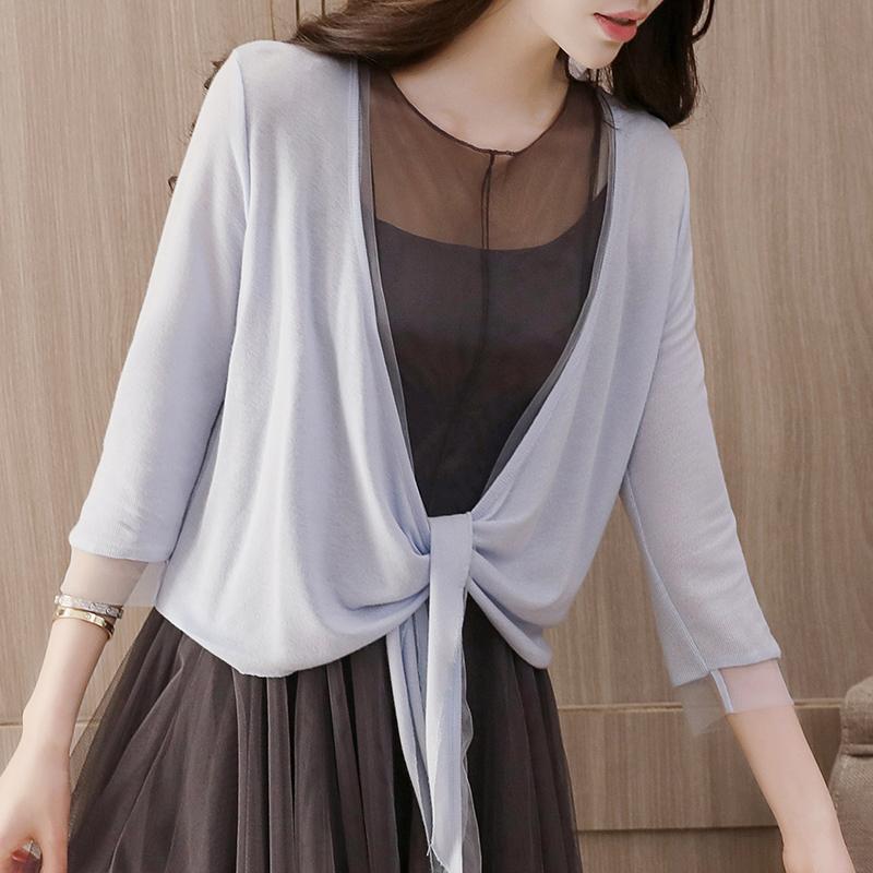 配吊带裙的小外披女夏开衫薄款针织衫短款外搭空调衫夏季披肩防晒