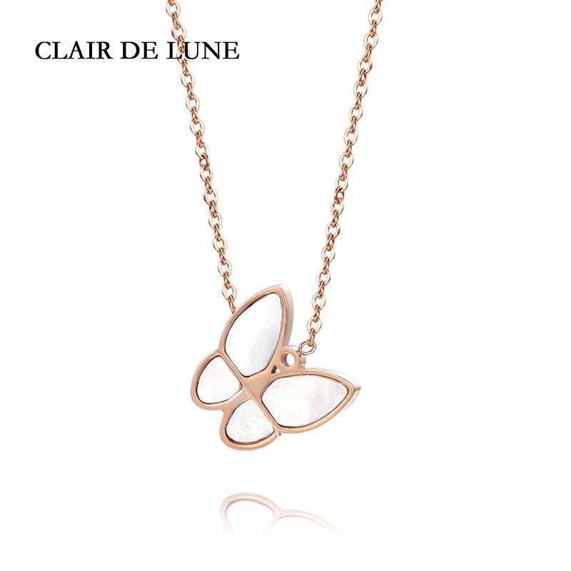 Clair De Lune 北欧简约时尚贝母金色蝴蝶项链