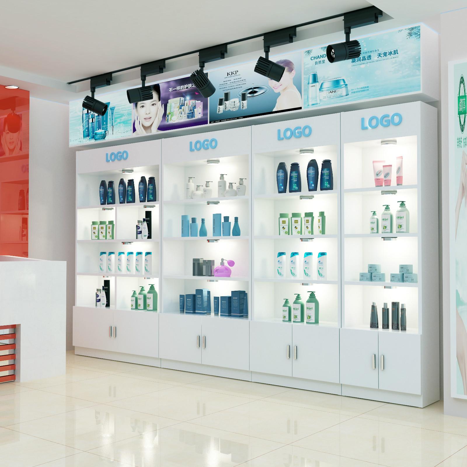 护肤品装饰店客厅时尚展柜家用美容储物柜展厅货架化妆品带灯商场