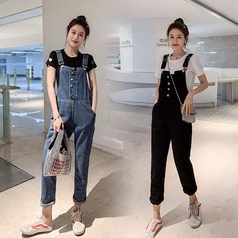 Autumn new denim suspenders womens loose large versatile breasted Korean college Suspenders