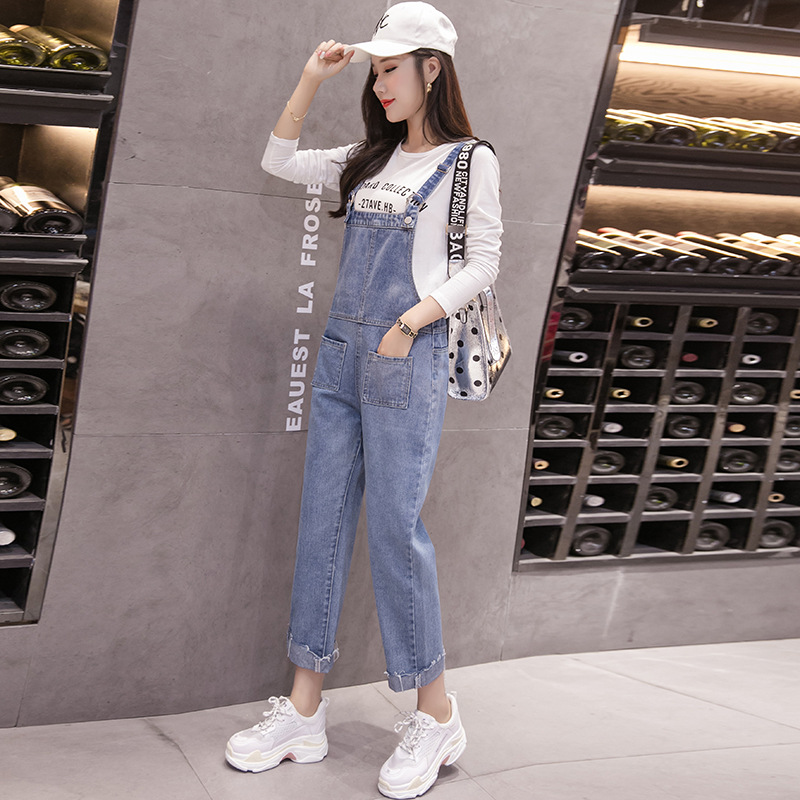 Spring and autumn Korean jeans Suspenders for young female students