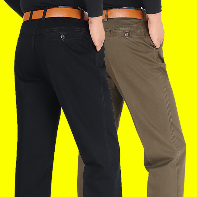 Autumn and winter thick elastic mens straight business pants versatile middle-aged loose high waist dad casual pants