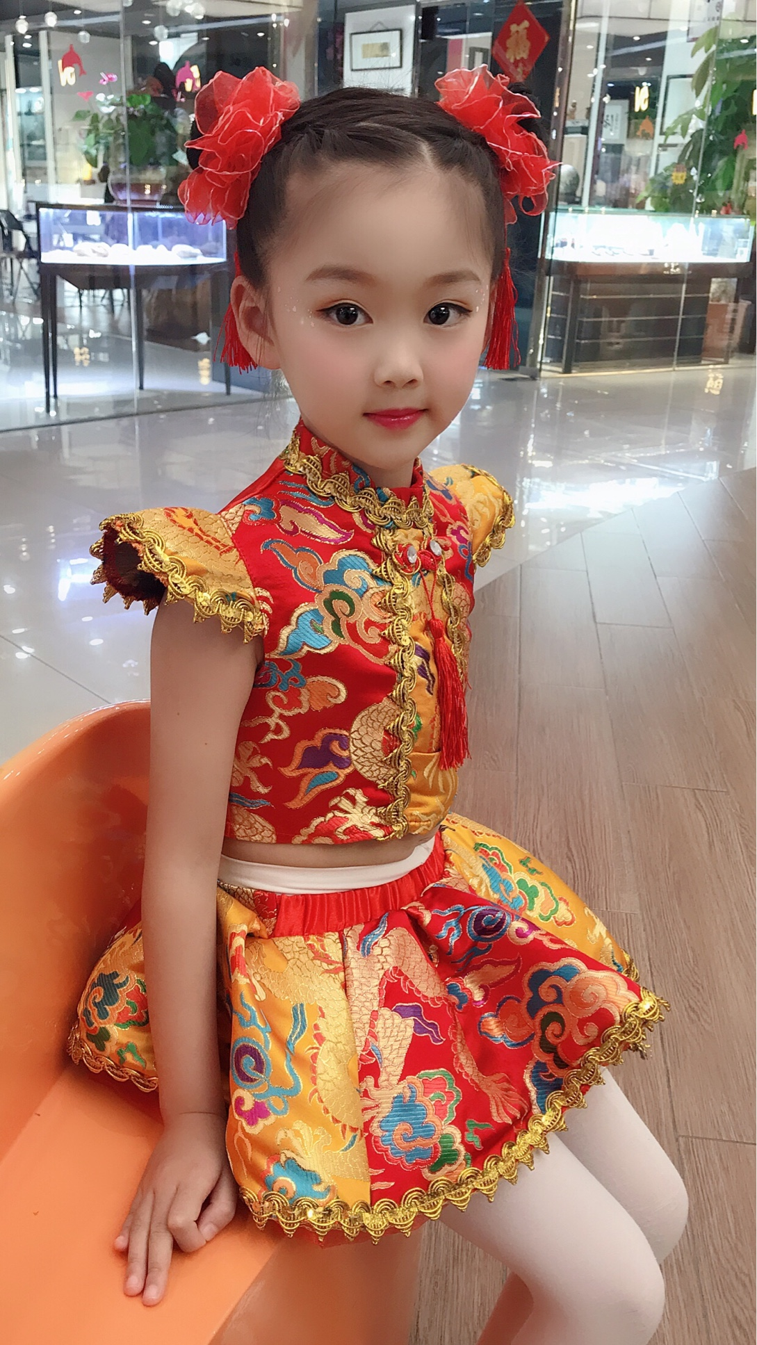 说唱中国红民族风儿童喜庆秧歌服
