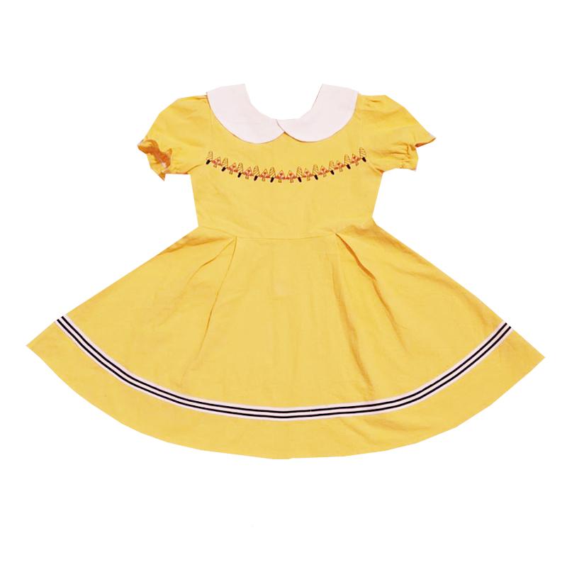 女童娃娃领棉布公主裙夏装2021新款洋气女孩学院风前后两穿连衣裙