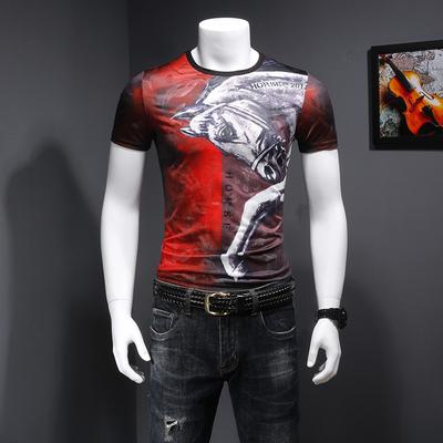 B7788 夏季新款短袖T恤 复古印花个性马图案上衣 P55