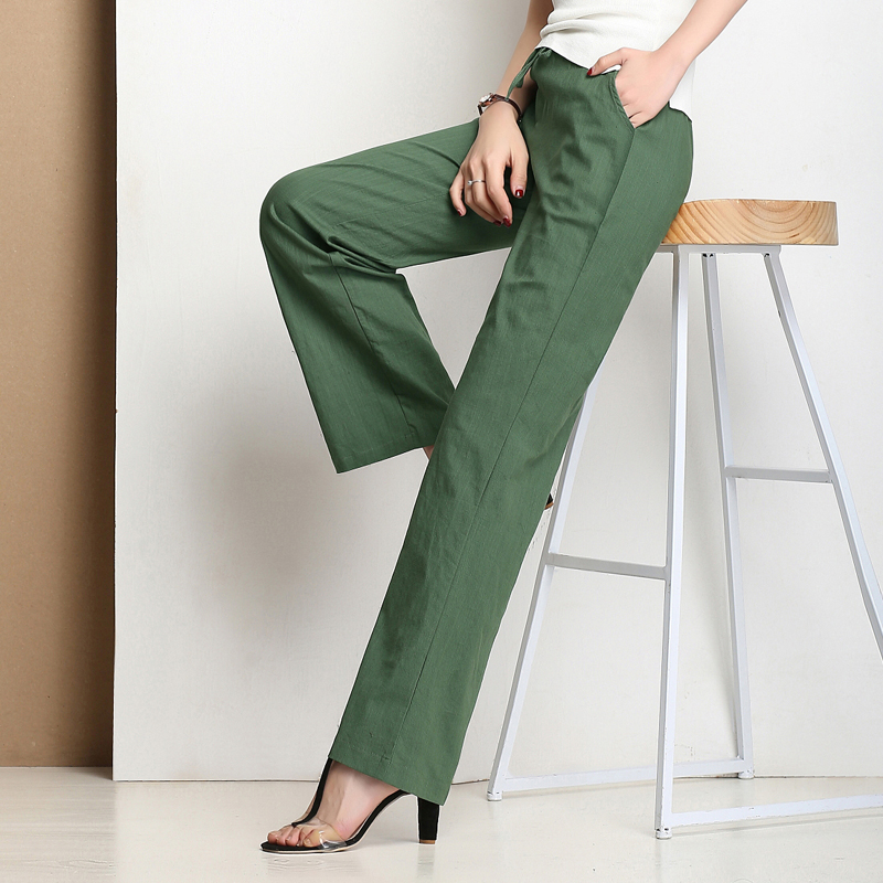Green cotton linen trousers spring and autumn loose casual straight tube large size linen womens pants retro style wide leg pants