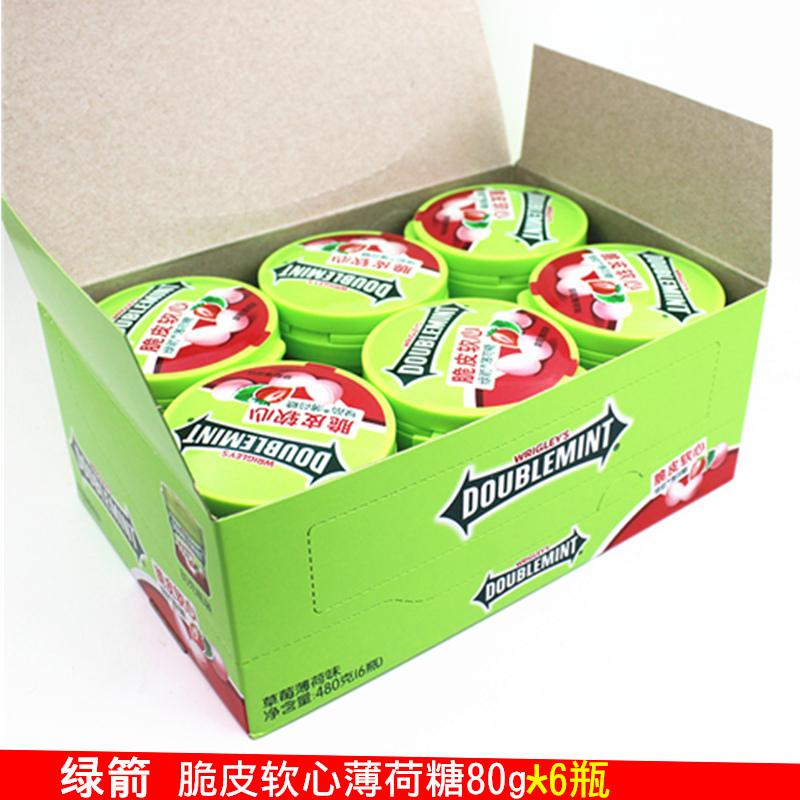 绿箭薄荷糖脆皮软心糖80g*6瓶原味柠檬留兰香草莓味清凉糖批发