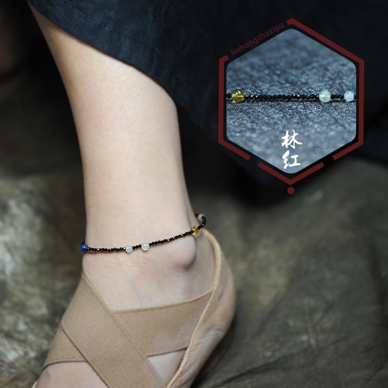 Original design of Linhong zhuzipu: chakra black spinel lucky anklet and Anklet
