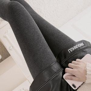 豎條紋打底褲女加絨加厚秋冬季外穿螺紋高腰顯瘦踩腳保暖一體棉褲
