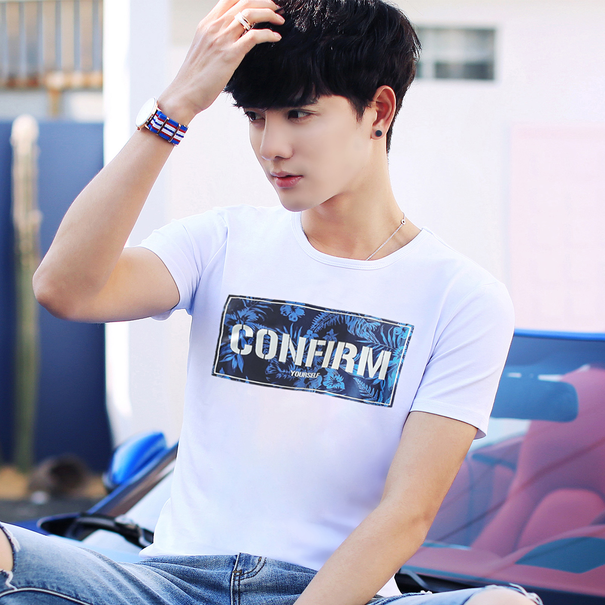 【2 модель 19】2017 летний костюм новый человек короткие рукав T футболки облегающий, южнокорейская версия белый сочувствовать приток мужчин установлены пальто одежда