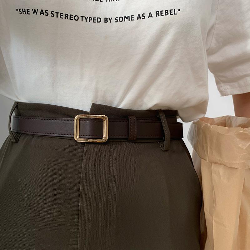无孔皮带女款 夏季装饰牛仔裤黑色细时尚复古学生ins风腰带女士潮