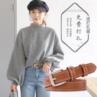 学生韩版 个性 皮带女士简约休闲百搭韩国潮流bf风时尚 饰 细腰带女装