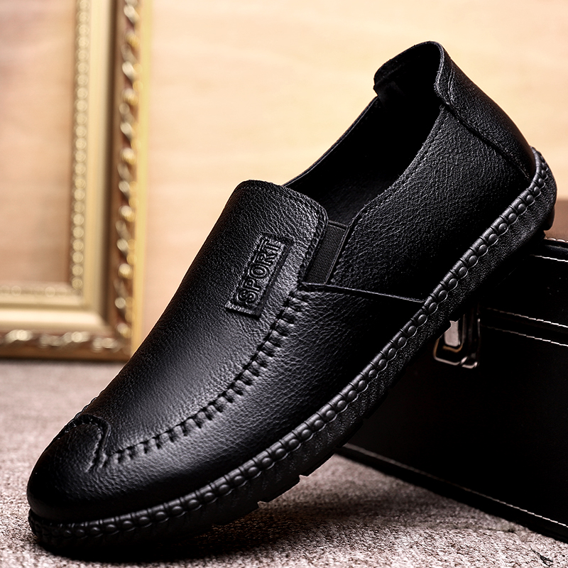 Leather shoes mens leather business casual shoes autumn summer version soft bottom Soft Leather Driving shoes cover feet breathable mens shoes casual shoes