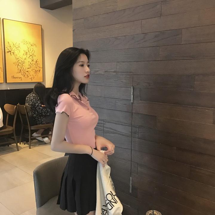 原宿紧身上衣短袖藕粉色t恤女娃娃领青春少女风女装小宅女大购物