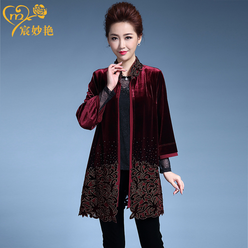 Womens coat middle-aged and elderly windbreaker spring and autumn new style temperament celebrity hollow out embroidery large mothers dress female