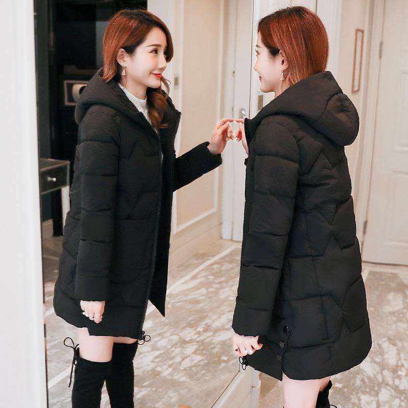 棉衣女中长款2018新款韩版加厚棉服修身显瘦百搭棉袄冬季学生外套图片
