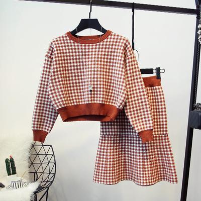 2020秋冬新款女装韩版小香风名媛格子针织衫毛衣包臀短裙时尚套装