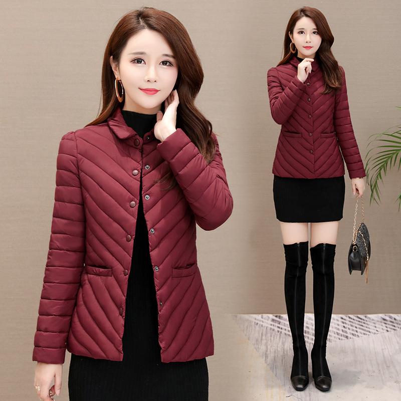轻薄羽绒棉服女短款冬季2020新款修身中年妈妈棉衣冬天小棉袄外套