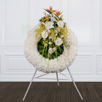 White Chrysanthemum rose Lily Fountain memorial service condolences with white funeral flowers circle Beijing Send flowers to the door l18001