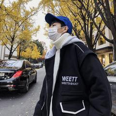 18冬新款男士字母刺绣连帽拼接棉衣外套W8490-P148(不低于168)