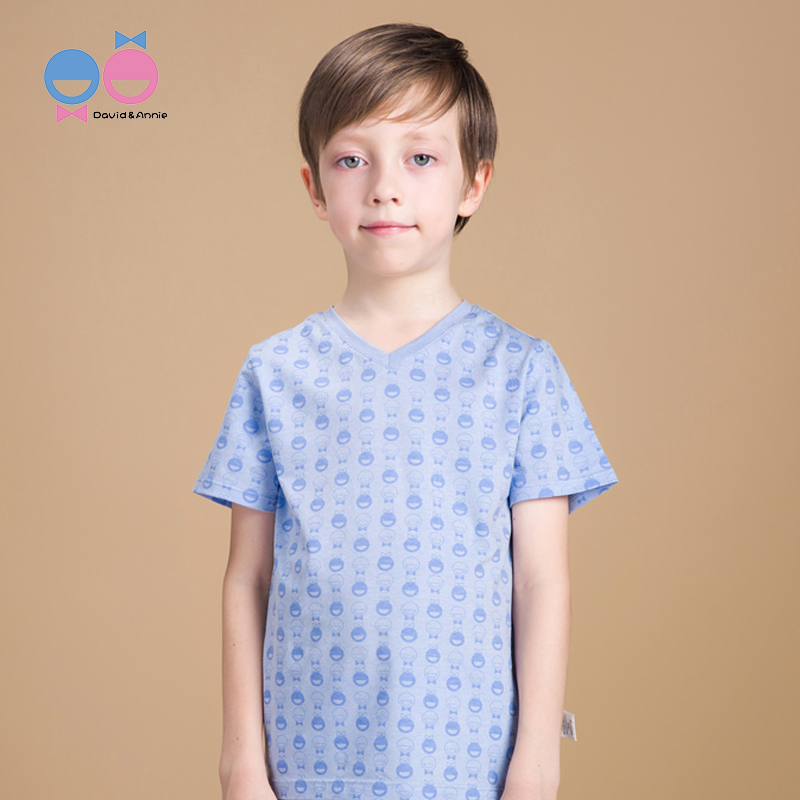 David Anne childrens T-shirt boys short sleeve thin breathable sweat absorbing linen Tencel manyin middle school childrens top V-neck