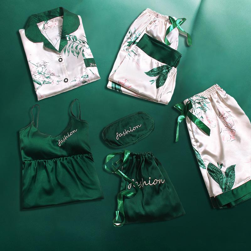 冰丝睡衣女夏季春秋带胸垫丝绸薄款七件套长袖家居服套装秋季夏天