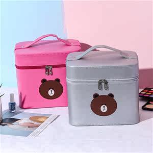 2019新款印花化妝箱小熊大容量雙層化妝品收納箱潮流女士化妝包