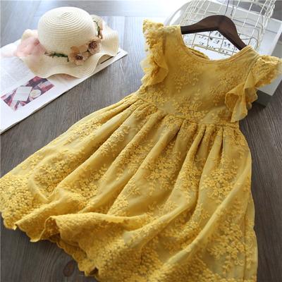 20夏季韩版女童公主裙蓬蓬纱裙网纱刺绣花朵连衣裙洋气儿童仙女裙