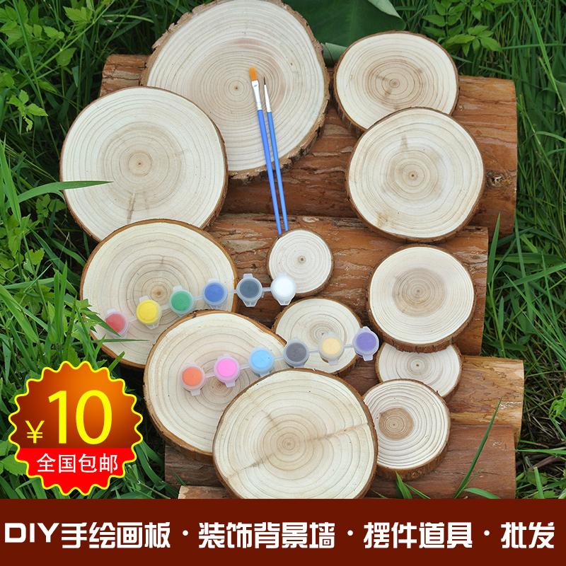 Круглый чипсы китайская ель лист год круглый чипсы войти лист diy дерево материал декоративный чипсы фон стена ручная роспись чипсы
