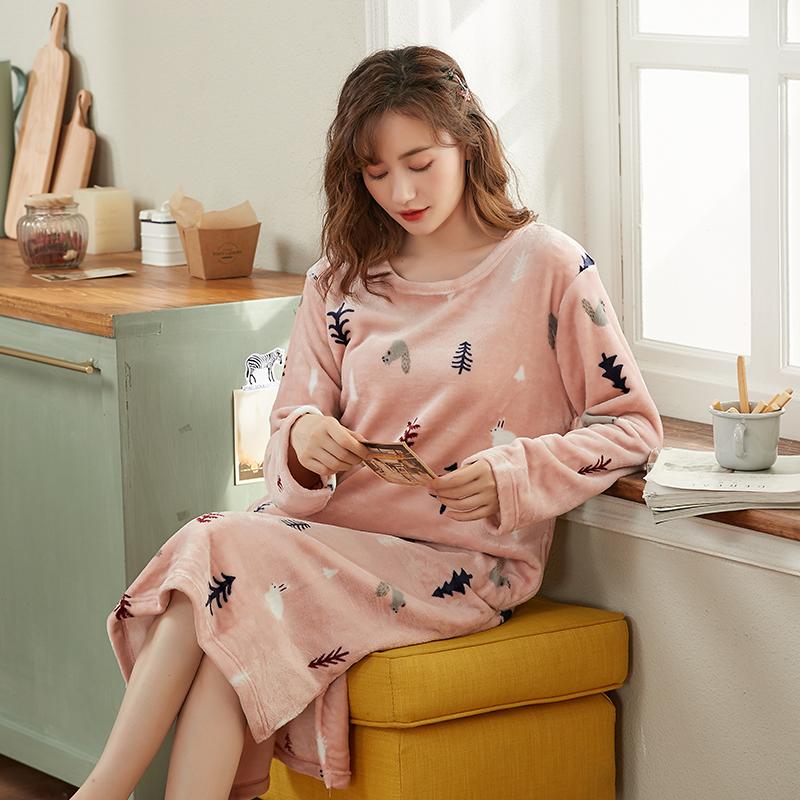 睡裙女秋冬季珊瑚绒长款过膝加绒加厚韩版卡通可爱法兰绒宽松睡衣