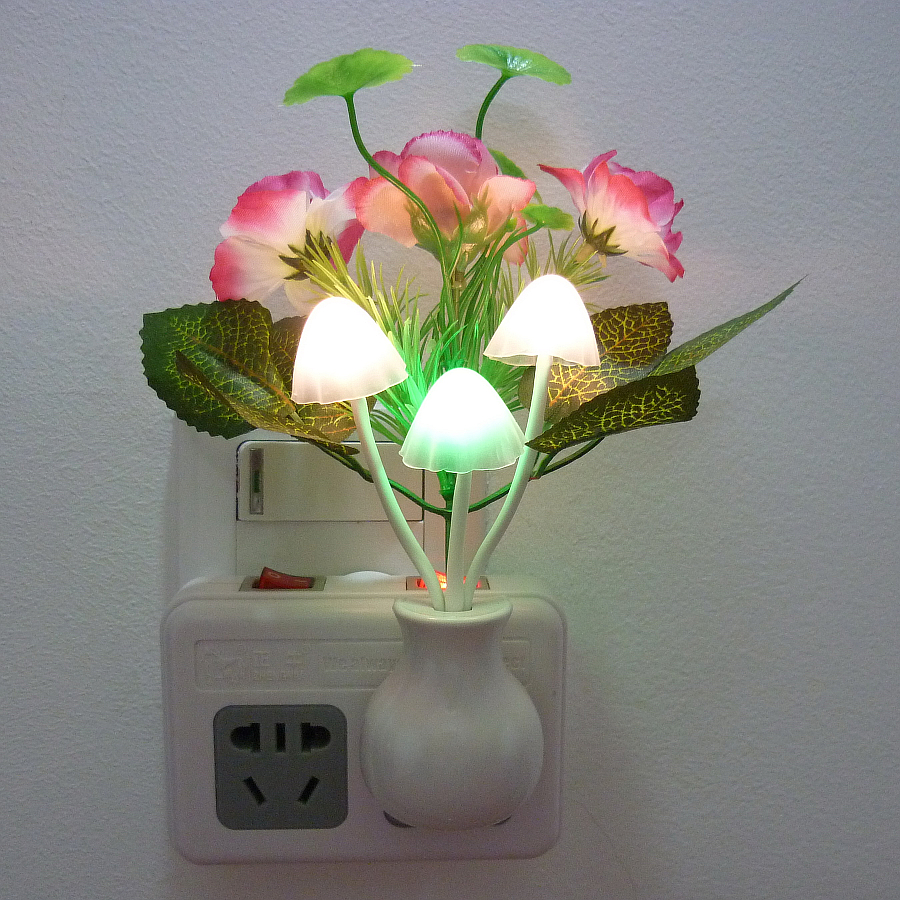 Energy saving night colorful lamp plug-in bedside lamp bedroom wall lamp LED creative light controlled baby feeding night lamp