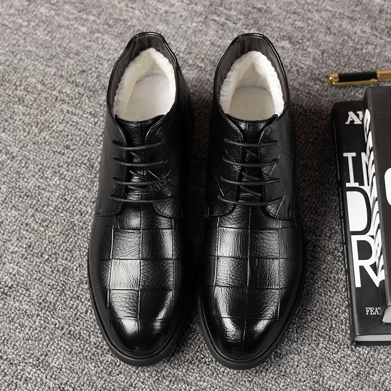 2019 high top mens leather shoes British and Korean fashion Plush business casual formal cotton shoes