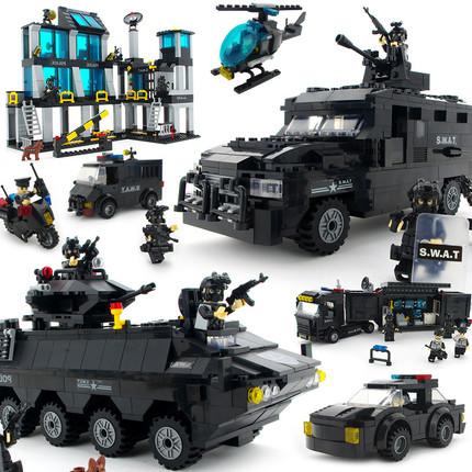 乐高城市装甲警察车队防爆军事人仔吉普车特种兵基地拼装积木玩具