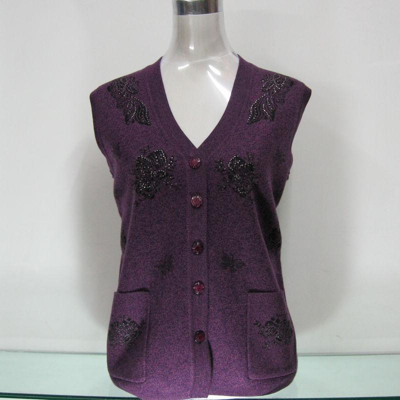 中老年女开衫背心针织衫马甲奶奶装坎肩秋冬妈妈装羊毛衫外套毛衣